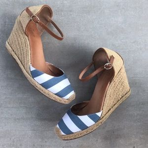 Caslon Blaire Nautical Striped Espadrille Wedge